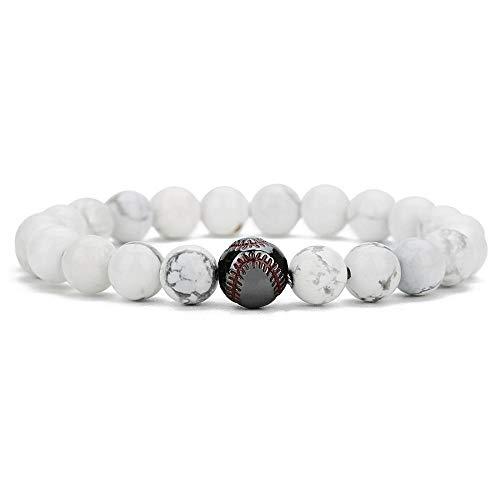 WENZHEN Perlen Armband, Weiß Türkis Kupfer Baseball Perlen 8mm Peeling Achat vulkanischen Stein Perlen Armband @ F -