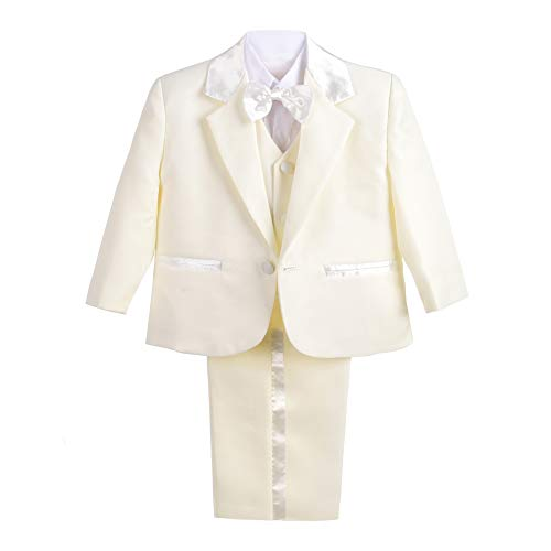 Lito Angels Jungen 5 Stück set Formale Tuxedo Anzug Taufe Taufanzug Gr. 3 Jahre Elfenbein -