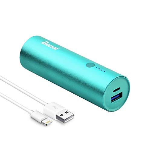 BONAI Powerbank 5800mAh Externer Akku,Handy Mini Power Bank mit Lightning Kabel für iPhone 11,11Pro,XR,XS,X,SE,8,8Plus,7,7Plus,6,6Plus,6s,5,5s,5c,iPad,und viele mehr Phones -Minze