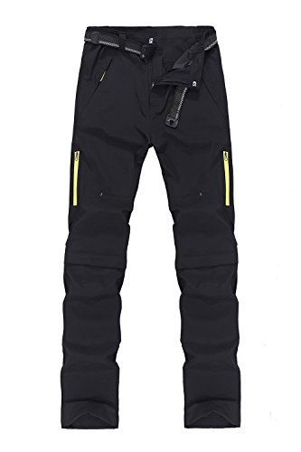 Mr.Stream sports 2-in-1 Outdoor Quickdry viele Taschen Herren Zip Off Hose Short oder Lang 4X-Large Black