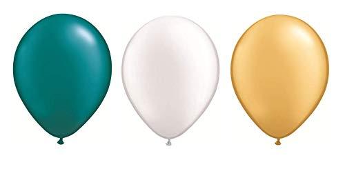 DeCoArt... Set Preis 60 Luftballons perl Gold, perl weiß und perl türkis ca 28 cm und 60 Ballonverschlüsse Polyband weiß sowie EIN weißes Aufblasventil sowie Infoblatt (Gold Türkis Und)