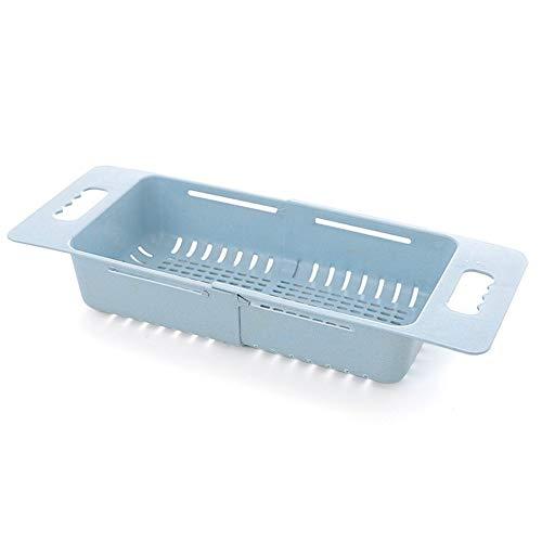 WEIWEITOE-DE Einstellbare Spüle Geschirr Wäscheständer Kitchen Organizer Kunststoff Waschbecken Abflusskorb Gemüse Obst Halter Lagerregal, Blau, (Einstellbar Tuch Rack)