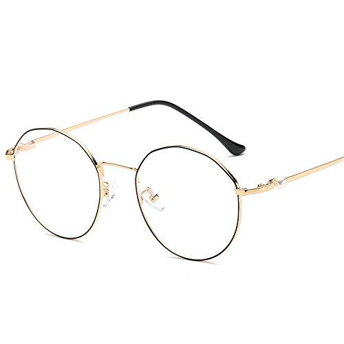 Yiph-Sunglass Sonnenbrillen Mode Wiederherstellen von Alten Wegen rund um den blauen Glasrahmen Runde Metallbox Männer und Frauen LUE Shading-Brille für Büroarbeiter (Farbe : B)