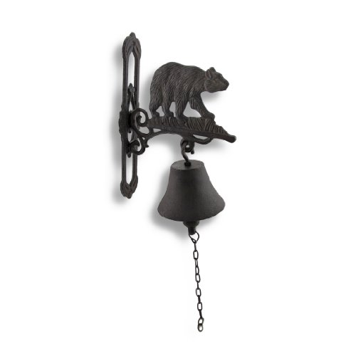 Bear Bell in ghisa a parete con patina di ruggine