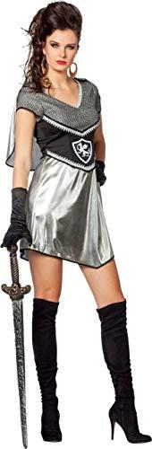 Ritter Kostüm Damenkostüme Damen Karneval Fasching Kleid Silber Schwarz (Ritter Kostüm Kleid)