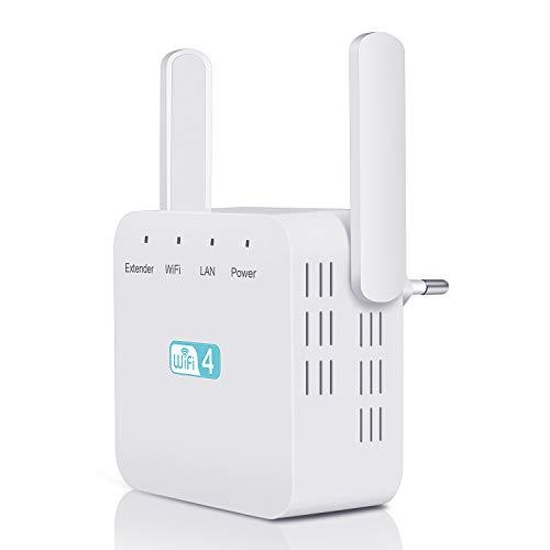 Kosiy Répéteur WiFi Amplificateur WiFi 300Mbps/2.4GHz Repeteur WiFi Freebox, WiFi Extender WiFi Booster Compatible avec Toutes Les Box Internet, 2 Antennes, 10 Appareils