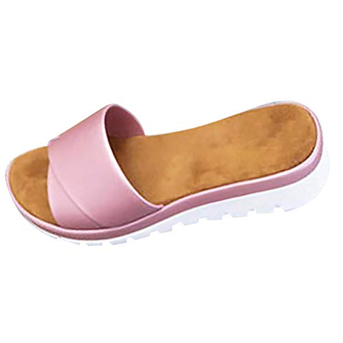 WINLISTING Muttertag Damenmode Wohnungen offene Zehen Dicke untere Strand Schuhe römische Hausschuhe Sandalen (Rosa, 40) (Glitter Rosa Wohnungen)