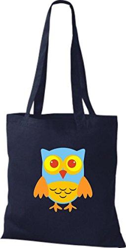 streifen mit Punkte Jute Owl natur Eule Tragetasche ShirtInStyle Retro Stoffbeutel diverse blau Farbe Karos niedliche Bunte CzYBq