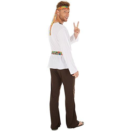 Imagen de disfraz de hippie jimmy para hombre | camisa con símbolo de la paz y pantalones de campana | incl. cinta para el pelo m | no. 300953  alternativa