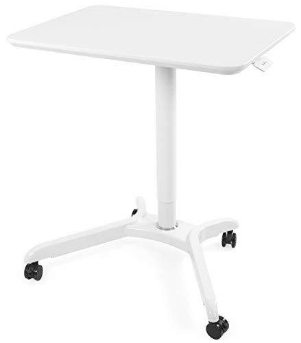 Vivo weiß Rolling sitzen Ständer Trolley mobil Präsentation Warenkorb Ergonomische Workstation Monitor Riser | Spannfeder Höhenverstellbarer Schreibtisch 71,1cm (cart-v000hw) - Höhenverstellbare Pc-wagen