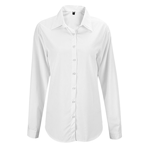 2 Button-up-shirt (Petalum Damen Bluse Basic Elegant Taillierte Bluse Stehkragen Langarm Button Up Einfarbig Shirt Top Oberteil Damenmode Hemd Work Business-Look)