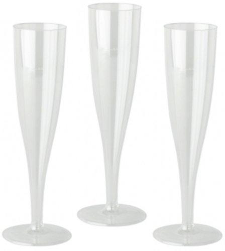 Einweg Champagner Flöten, Kunststoff Gläser. Wählen Sie Ihre Menge farblos