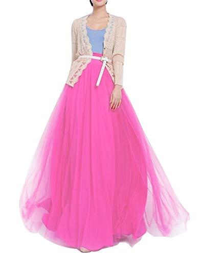 Frauen in bodenlangen Lange Maxi Puffy tüll - Rock in Einer Linie mit Bowknot gürtel hohe tailliertes für Hochzeitsfeier Abend (Hot Pink, Medium) -