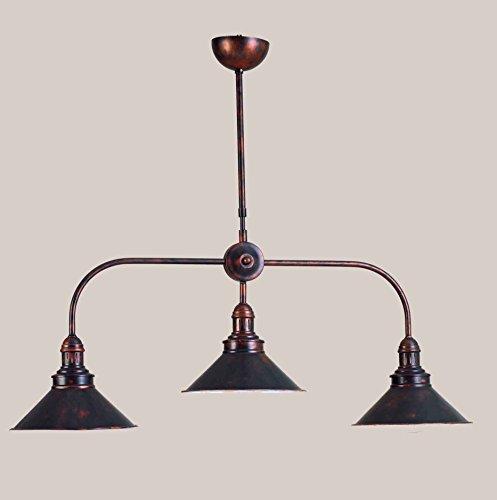 Antike Kupfer-drei-licht (Pendelleuchte Wippschalter 3Lichter Kupfer Vintage Retro Antik 100% Made in Italy)