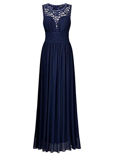 Miusol Damen Elegant Sommer Tr?gerkleid Faltenrock Rundhals Cocktailkleid Spitzen Langes Kleid Dunkelblau EU 48/3XL -