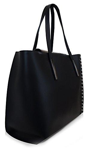Klassiker Italienische On Trend Damen Leder Handtasche, Schultertasche, Elegante Tasche mit Schulterriemen in Vielen Farben 33x32x16 cm, Hergestellt in Italien. Nero