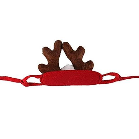beiguoxia Weihnachten Kostüm Haustier Hund Katze Elch Hirsch Hut Cap Party Cute Headwear (Hund Tragen Weihnachten Kostüm)