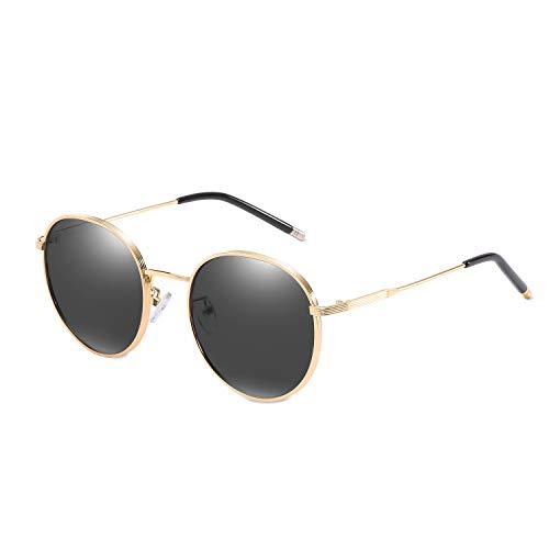 LumiSyne Retro Polarisierte Sonnenbrille für Damen,Frauen Runder Metall stil mit Vollrand Rahmen,UV 400 Outdoor Reisen,exquisite Geschenkbox(Schwarz)