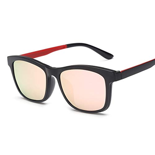 LKVNHP Square Polarized Magnet Clip On Sonnenbrille Frauen Männer Titan Sonnenbrille Für Männer Fahren Doppel Objektiv Verschreibungspflichtige RahmenRosa
