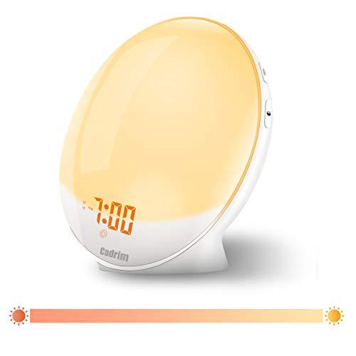 Wake Up Light,Cadrim Radio FM Reloj Despertador Reloj Despertador Dual + Cable USB, Control Táctil, Simulación de Salida del Sol/Puesta del Sol,Radio FM, 7 Sonidos Naturales, 7 Colores (Wake Up Light)