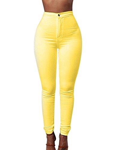 Zkoo donna a vita alta leggings elastico skinny jeans pantaloni in denim lunghi matita pantaloni giallo