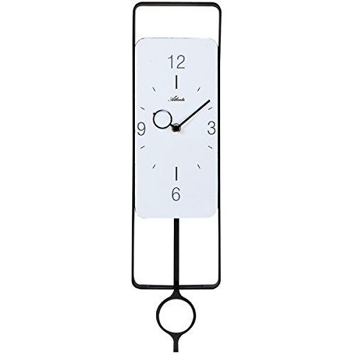 Atlanta 5019/7analogico al quarzo orologio da parete con pendolo nero bianco