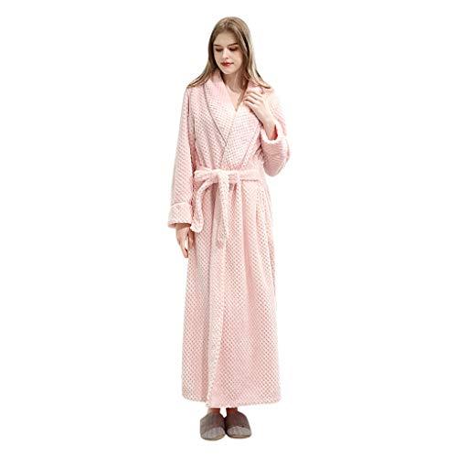 Longra Elegante Accappatoio da Donna Uomo in Pile Spesso Abito da Notte Pigiama con Tasca Vestaglia Lunga Caldo Invernale Pajama Set per Famiglia Camicia da Notte