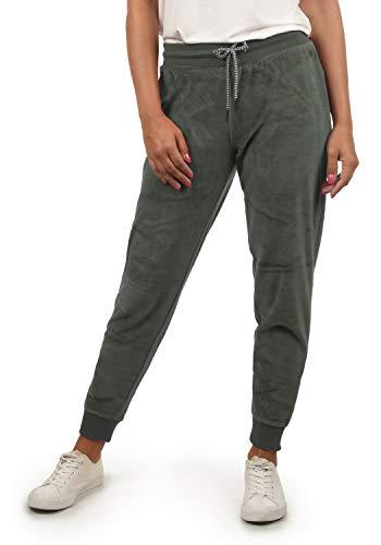 DESIRES Nikita Damen Sweathose Velours-Sweatpants Relaxhose Regular- Fit, Größe:M, Farbe:Castlerock (9486) -