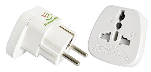 Preisvergleich Produktbild FiveSeasonStuff 1 x Reisestecker / Travel Plug / Adapter Plug Universal / Schutzkontakt Reiseadapter auf DE und für die EU (Großbritannien, Irland, Hong Kong, Singapur, Saudi-Arabien, usw) Type F (Weiß)
