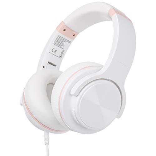 AmazonBasics - Kabelloses Over-Ear-Headset, mit Bluetooth, Micro-USB und 3,5-mm-Audiokabel, weiß
