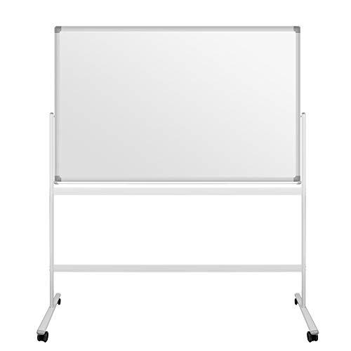 S SIENOC Mobile Whiteboard Magnetwand mit Alurahmen Magnetisch Whiteboard und Magnettafel Weiß lackiert WhiteBoard + Ständer Einstellbar drehbar (110x80cm)