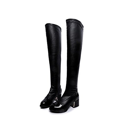 HSXZ Scarpe donna vera pelle Autunno Inverno Slouch Stivali Stivali Chunky tallone punta ginocchio stivali alti per Nero Casual Black