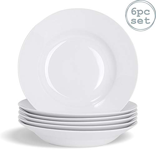 Argon Tableware Juego Platos hondos Blancos Sopa Pasta