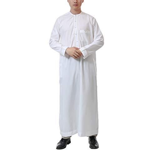 Acqrobe Islamische arabische Kaftan Männer - Moslemisches Saudisches Langärmliges Thobe Türkisches Dubai Thawb - Thawb Kostüm