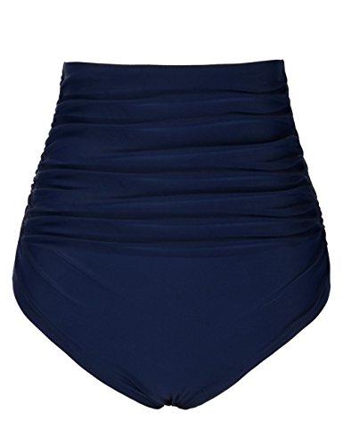Mycoco Damen Hoch Tailliert Bikini-Bikinihose mit Gerafftem Saum Navy 44