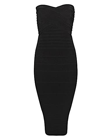 Whoinshop Frauen Rayon Trägerlos Stretch unter dem Knie Bandage Party-Kleid Bodycon schwarz S