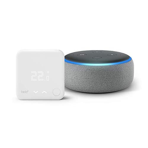 Intelligenter Lautsprecher mit Alexa Tado Smartes Thermostat Starter Kit V3+ Raumthermostat, Intelligente Heizungssteuerung + Echo Dot 3. Gen. Anthrazit Stoff
