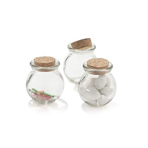 30 pezzi barattolo vetro 100ml con tappo in sughero porta confetti bomboniera con pergamene (tondo)