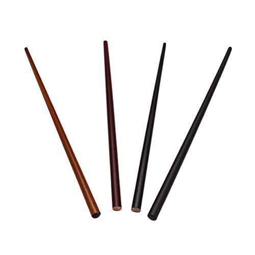 Lurrose 4pcs palillos de madera del pelo palillos chinos naturales del pelo horquillas rectas para las muchachas de las mujeres