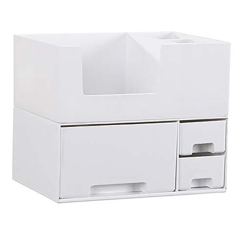 Organisateur cosmétique en plastique, multifonction maquillage tiroir type boîte de rangement de la brosse à bijoux de bureau présentoir pour salle de bain chambre, 24,2 * 17,2 * 19,4 CM,White