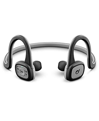 Aql sport shake aggancio, passanuca stereofonico senza fili grigio auricolare per telefono cellulare