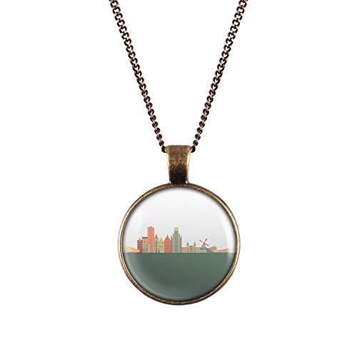 Mylery Hals-Kette mit Motiv Skyline Amsterdam Niederlande Netherlands Holland Bronze 28mm