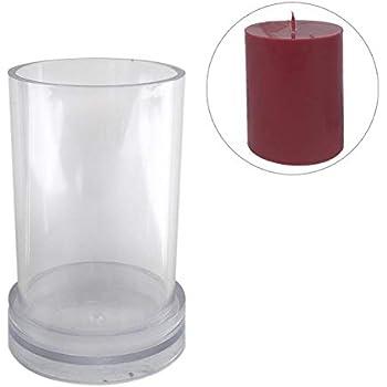 Kunststoff Volwco Kerzengie/ß-Set 4 cm zum Basteln von Kerzen 10cm transparent Zylinderform f/ür zu Hause und Kinder