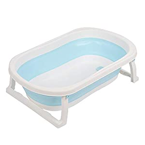 lulalula Baby Bathtub Infant Bath Tub Foldable Toddler Shower Basin Newborn Bathing Support Space Saver Collapsible Bathing Tub Non Slip and Non Toxic Portable Features for Newborn Easy Bathing