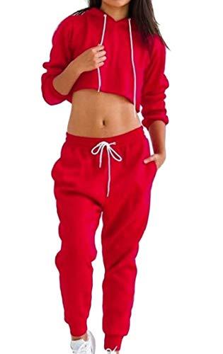ChengZhong Damen Zweiteiliges Set Sweatsuit Hosen Outfits Jog Hoodies Crop Tops Trainingsanzüge Gr. Large, rot Hose Jog Set