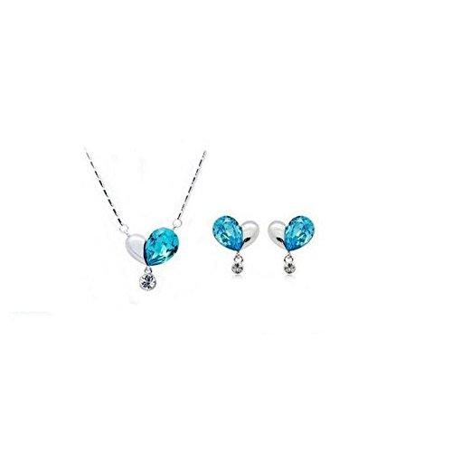 Parure coeur cristal swarovski elements strass tombant plaqué or blanc Bleu turquoise