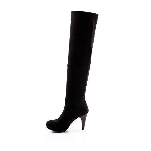 Zeagoo Frauen Stilett über das Knie strecken breite Passform schwarze Overknee Stiefel Schuhe