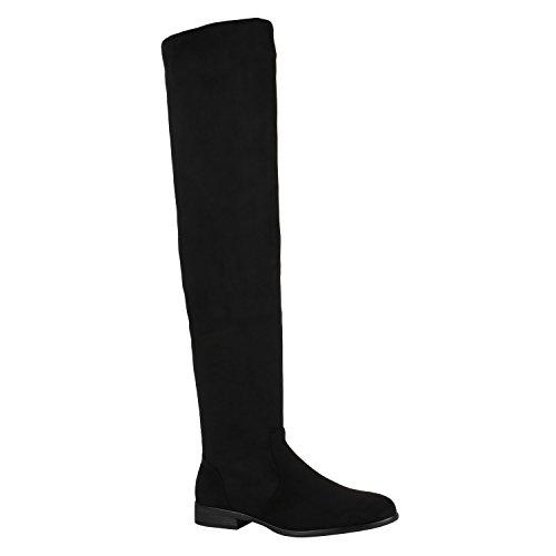 Gefütterte Damen Overknees Metallic Winter Stiefel Leder-Optik Schuhe 149769 Schwarz Avelar 37 ()
