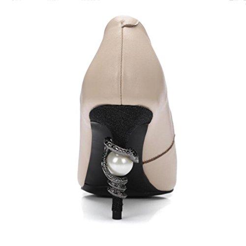W&LM Scarpe da donna Livello vacchetta Serpente e perla Gioca il colore Tacchi alti Bocca poco profonda sandali apricot