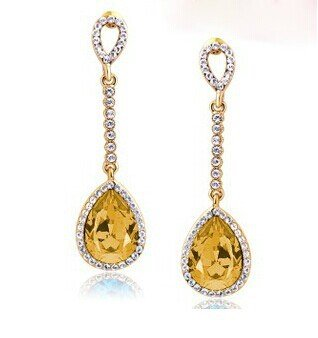 "Fabula Gold Teardrop Crystal Drop Earrings ""Stellar Collection"""